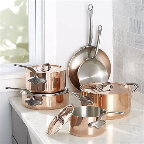 mauviel   piece cookware set crate  barrel cookware set mauviel copper cookware