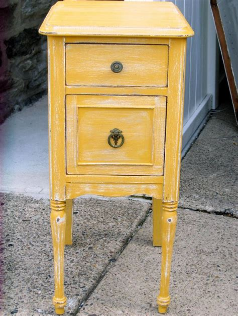 Colored Nightstands by Shabby Chic Distressed Yellow Nightstand My Finished
