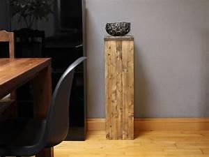 Säulen Aus Holz : deko objekte vintage deko s ule aus holz mit stahlschale ein designerst ck von elements ~ Orissabook.com Haus und Dekorationen
