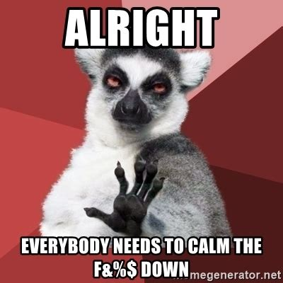 Calm The Fuck Down Meme - alright everybody needs to calm the f down chill out lemur meme generator