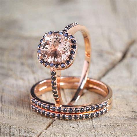 rose gold black diamond wedding ring sale 2 50 carat morganite and black diamond trio wedding bridal ring in 10k rose gold with