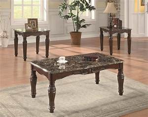 cherry finish classic 3pc coffee table set w faux marble tops With cherry finish coffee table sets
