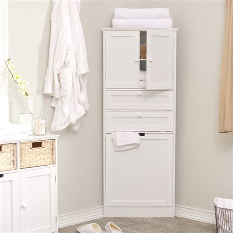 wood corner bathroom storage cabinet with door and drawer painted with white color for