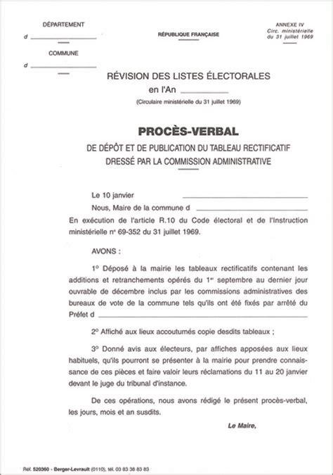 proc 232 s verbal de d 233 p 244 t et publication du tableau rectificatif rectification des listes