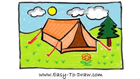 draw  cartoon tent  campground camping place