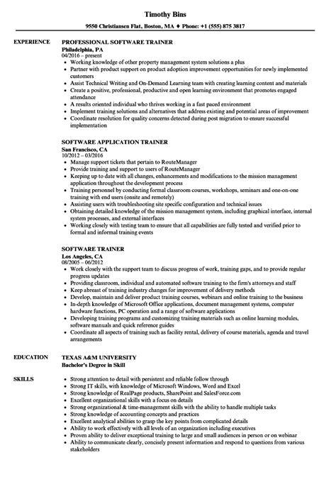 software trainer resume sles velvet