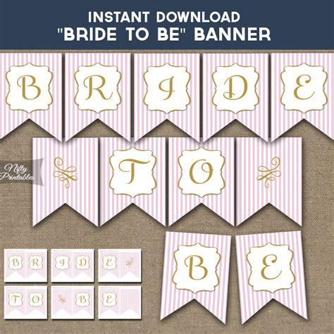 printable bridal shower banner pink gold