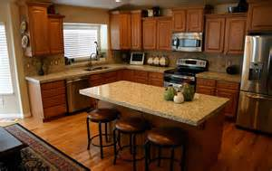 Giallo Ornamental Granite with Oak Cabinets