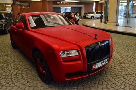 matte red rolls royce ghost    car