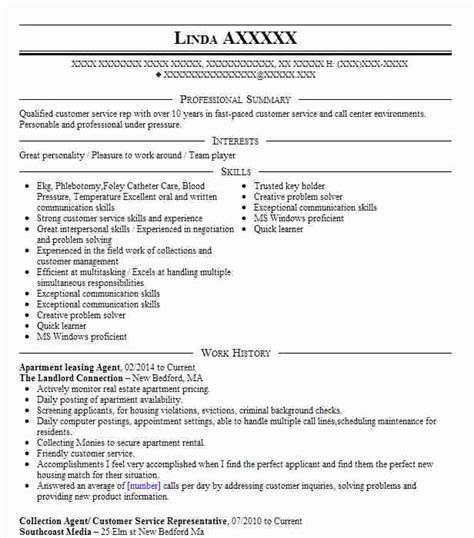 Resume Template Sample Leasing Agent Free Career