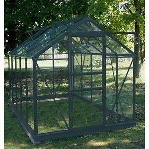 Serre Acier Verre : sekurit serre grise 4 65 m avec base chalet jardin ~ Premium-room.com Idées de Décoration