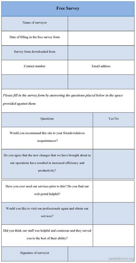free survey form sle forms