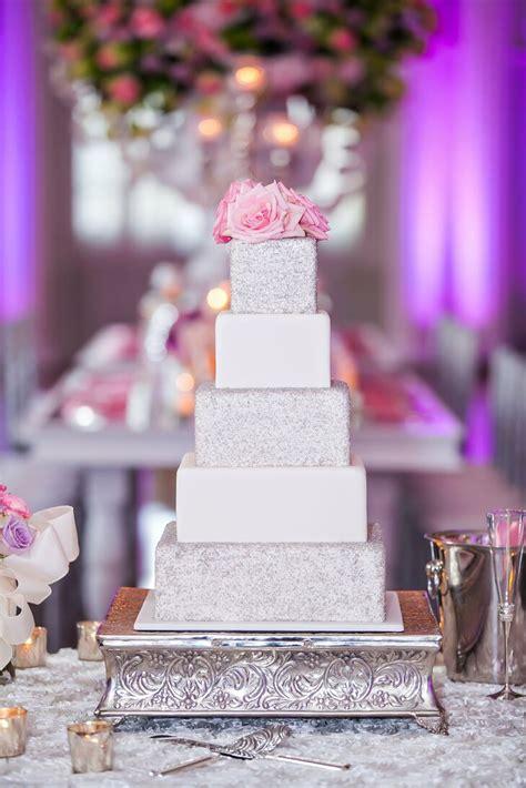 glam wedding cake  silver glitter