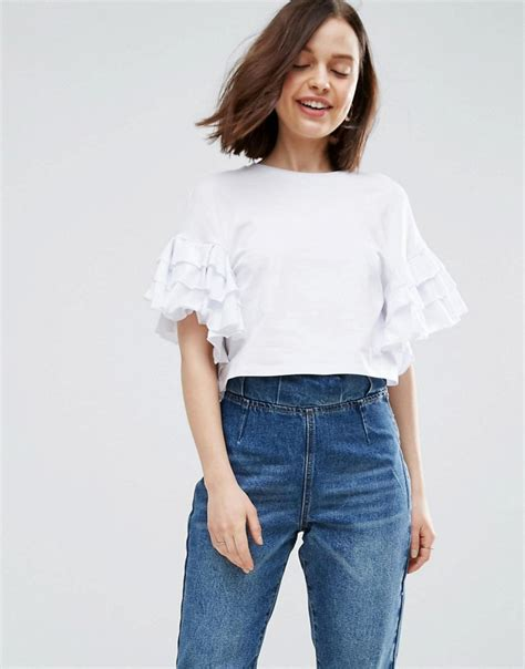 neck stripe cotton t shirt crop t shirt with ruffle sleeve