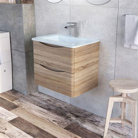 erin 600mm wall hung vanity unit in light oak white