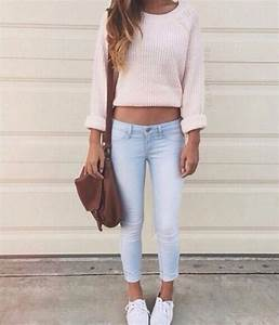 Bag crop top fashion girl hairstyle jeans jewellery long hair outfit shoes skinny ...