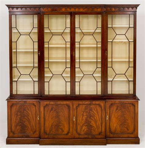 Bookcase Styles by Mahogany Georgian Style Breakfront Bookcase Lp22 25