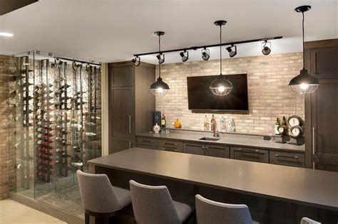 Basement Bar Backsplash by Contemporary Room With Bar And Vertical Wine