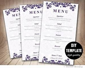 purple menu card template diy wedding menu card 4x7purple With diy wedding menu template free