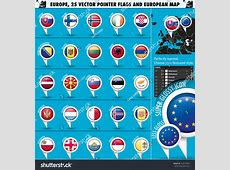 European Icons Round Indicator Flags Map Stock Vector