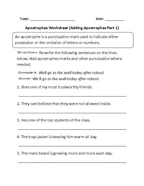 adding apostrophes worksheets worksheet part
