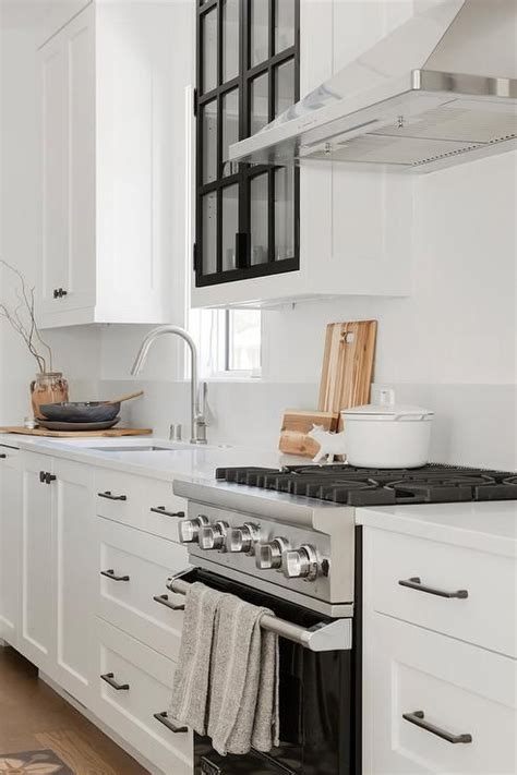 As well as their ability to complement traditional, transitional and contemporary designs. Black and white glass panel kitchen cabinets in a ...