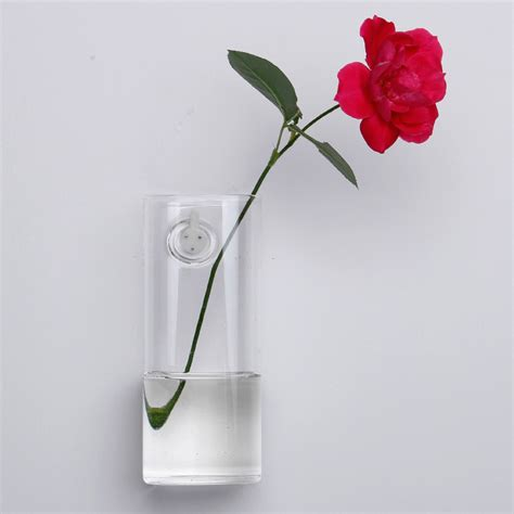 wall flower vase wall mounted long tube shaped glass flower vase home garden wedding party decoration alex nld