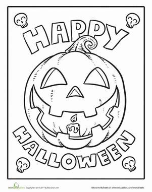 halloween color  number worksheet educationcom