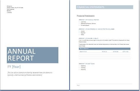 annual business report templates  ms word templates