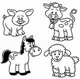 Pages Coloring Farm Animals Animal sketch template