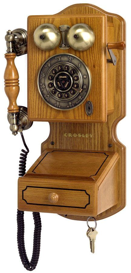 telephone mural bois crosley annees  antique