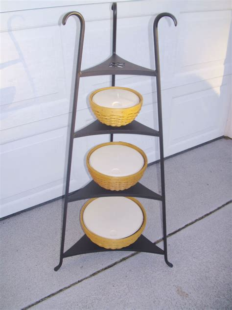 wrought iron stand  warm brown bowl baskets  lidded protectors longaberger ebay