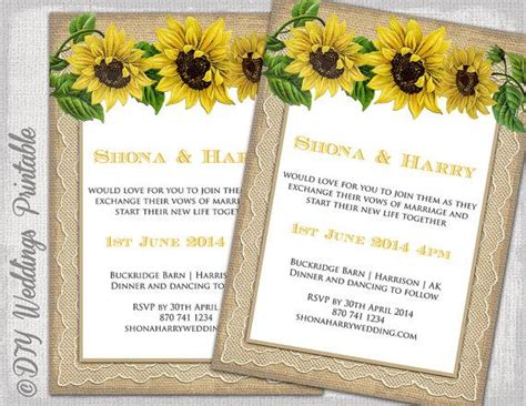 country wedding invitation template rustic sunflower