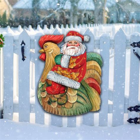 santa rooster door hanger outdoor christmas holiday