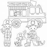 Coloring Fire Firefighter Comics Dalmatian sketch template