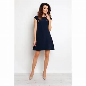 tres jolie robe bleu marine manches courtes m074 infinite With robe courte bleu marine