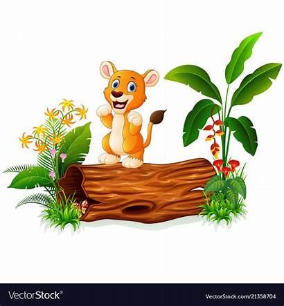 Lion Cartoon Tree Trunk Vector Royalty