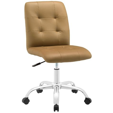 prim modern faux leather armless mid back office chair