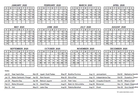yearly calendar  india holidays  printable