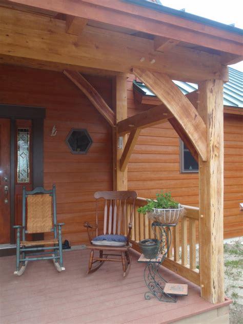 custom timber frame entry porch construction turner maine