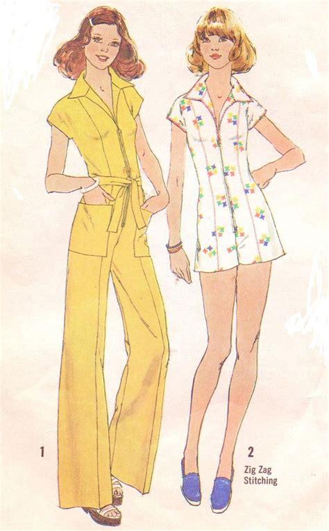 jumpsuit sewing pattern 70s wide leg zipper front womens jumpsuit or romper
