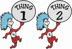 Dr.Seuss,cat in hat,thing 1,thing 2 Machine Embroidery ...