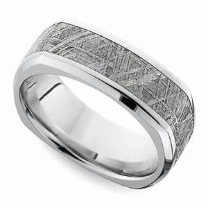 square beveled men39s wedding ring with meteorite inlay in With square mens wedding rings