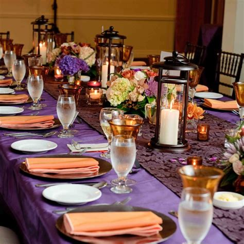 eggplant table cloth pumkin orange napkin ceremony reception decor napkins