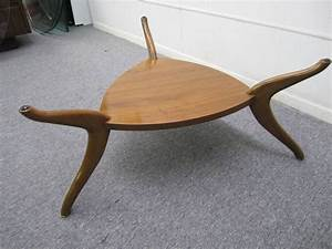 sculptural vladimir kagan style triangular coffee table With mid century triangle coffee table