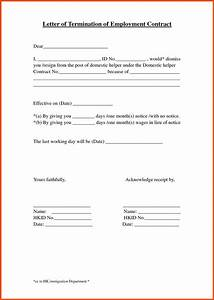 termination of employment letter program format With termination of employment contract template
