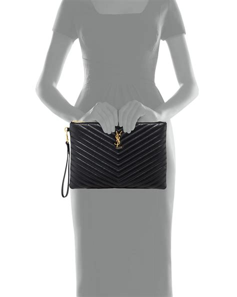 saint laurent leather monogram ysl quilted wristlet pouch bag  black lyst