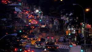 Heavy Traffic In The Night Modern City. Time Lapse. Stock ...