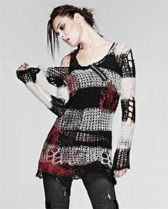 Punk Rave Shredded Knit Sweater Top White Black Stripe Goth Grunge Distressed