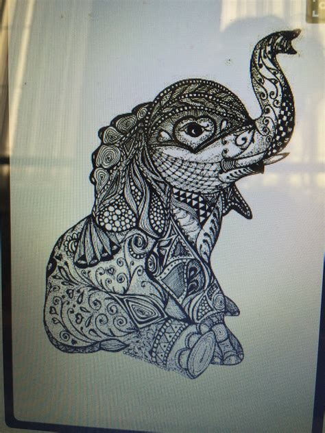 cute mandala tattoo design   elephant love